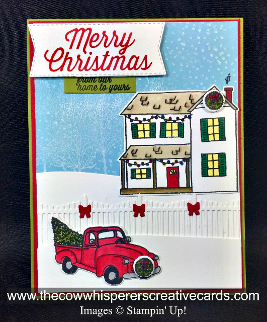 Card, Farhouse Christmas, Farmhouse Framelits Dies, Winter Woods, Stampin Blends
