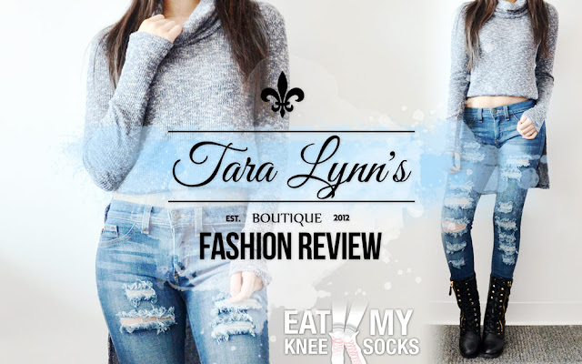 If there's one essential piece of clothing that everyone needs, it's a good pair of denim jeans! Today I'm reviewing a pair of Tara Lynn's Boutique's stylish distressed skinny jeans, which feature a flattering wash and grunge-y ripped front for a style like no other. Review ahead! - Eat My Knee Socks/Mimchikimchi