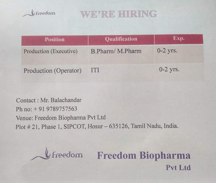Freedom Biopharma - Urgently Opening for Fresher & Experienced | Apply CV Now