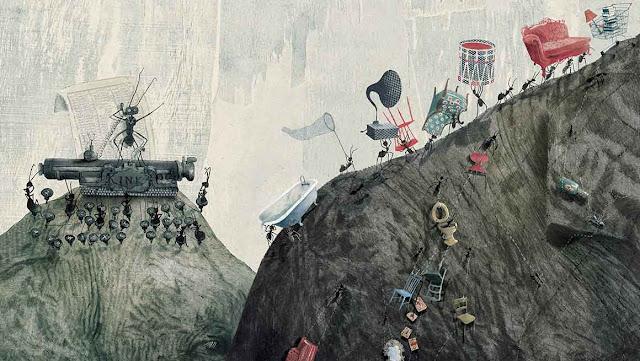 Una nueva ilustración interior del libro La Pregunta del Elefante realizada por la ilustradora belga Kaatje Vermeire