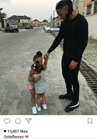 Cute Photo Of Flavour Watching His Daughters Hug Each Other
