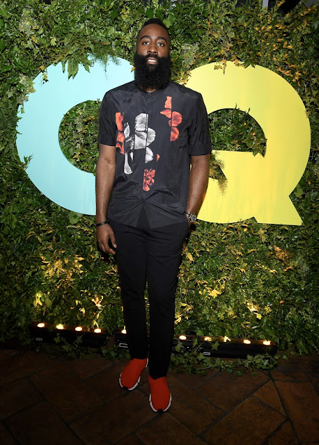 62e20bb73c0 James Harden wears a Neil Barrett Shirt and Balenciaga Sneakers at GQ s  Milan Fashion Week Party