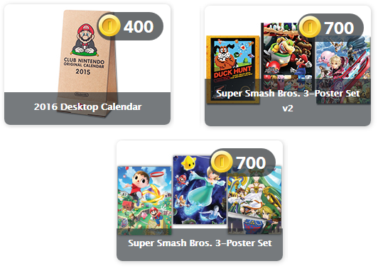 Super Smash Bros. posters and Desktop Calendar rewards for Club Nintendo