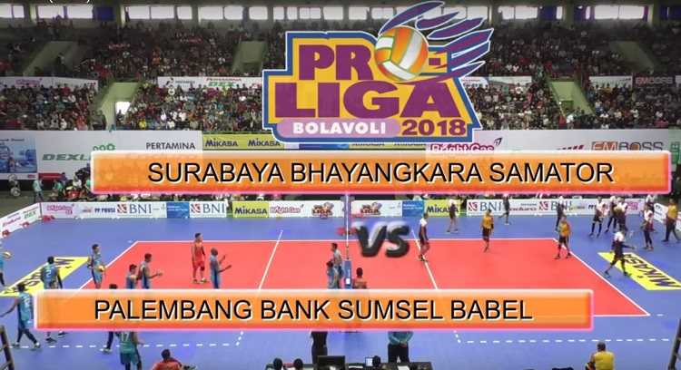 Review Pertandingan Proliga 2018 Antara Tim Bola Voli Surabaya Bhayangkara Samator dan Palembang Bank Sumsel Babel