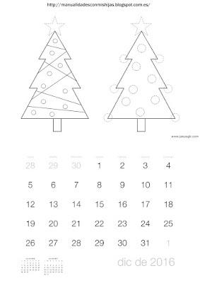 Calendario 2016 gomets pompones diciembre