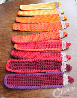 Made by Charry: Yellow, orange, red cotton pencil bookmarks