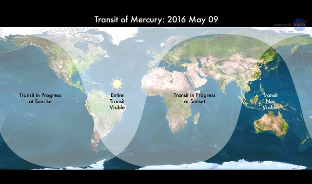 Transit of Mercury Viewing Map