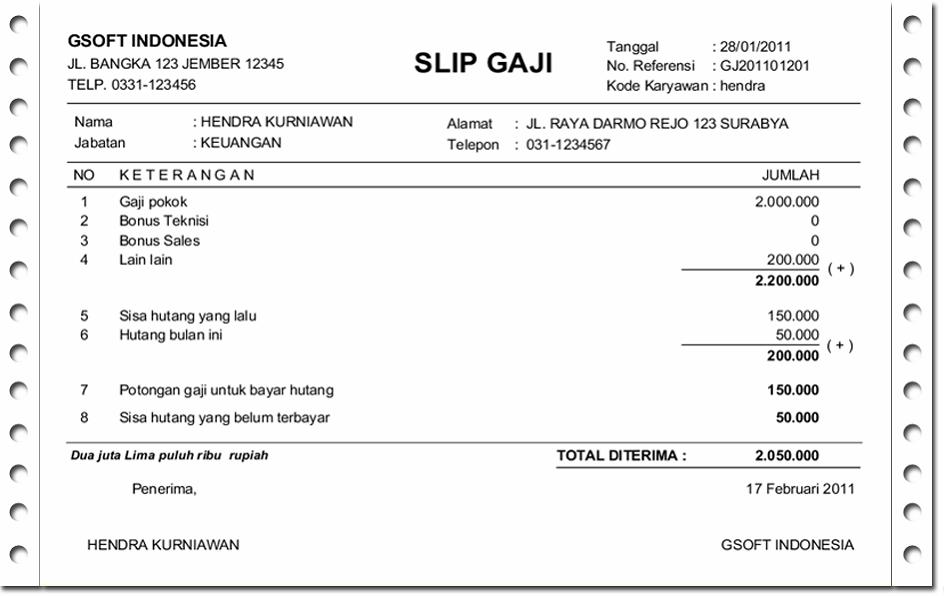 Contoh Slip Gaji Untuk Pinjaman - Contoh 36