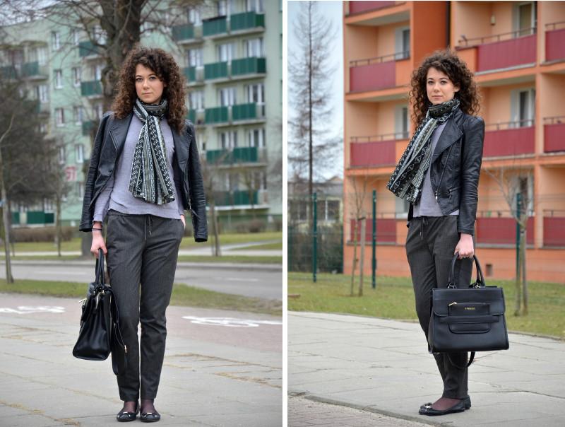 szare spodnie, spodnie na kant, szalik new look, jak się ubrać, stylizacja do pracy