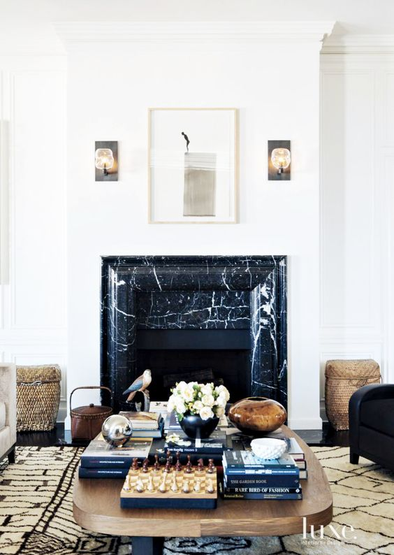 Living Room Fireplaces Cheap 2 Piece Sets The Peak Of Très Chic: Fireplace Chic