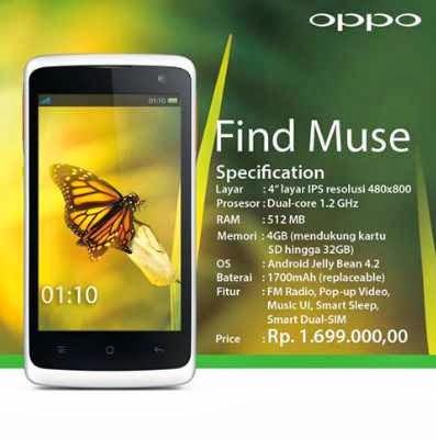 Harga Oppo Find Muse Terbaru dan Spesifikasi Lengkap