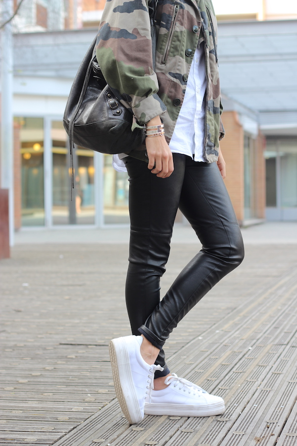 Veste Vintage , Chemise \u0026 pantalon H\u0026M , Chaussures No Name , Sac Balenciaga