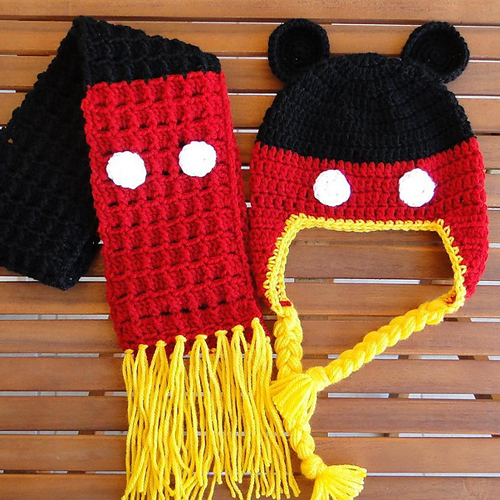 Beautiful Skills Crochet Knitting Quilting Mickey Mouse Earflap