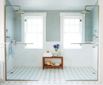 พื้นห้องน้ำ Blue bathroom