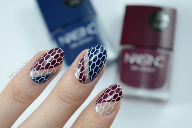 geometric, honeycomb, negative space, stripes, nail art, colourblock