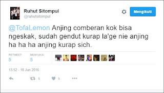 "Mulut Wakil Rakyat Ko Seperti ini, Apa pantas Orang seperti ini disebut wakil Rakyat ? Ruhut Sitompul Sebut Aktivis Muhammadiyah @TofaLemon ""Anjing Comberan"" - Commando"