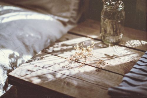 Slow Living vignette with rustic wood and dappled light - found on Hello Lovely Studio