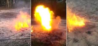 Misteriosa chama de fogos saindo debaixo da terra na Filipinas