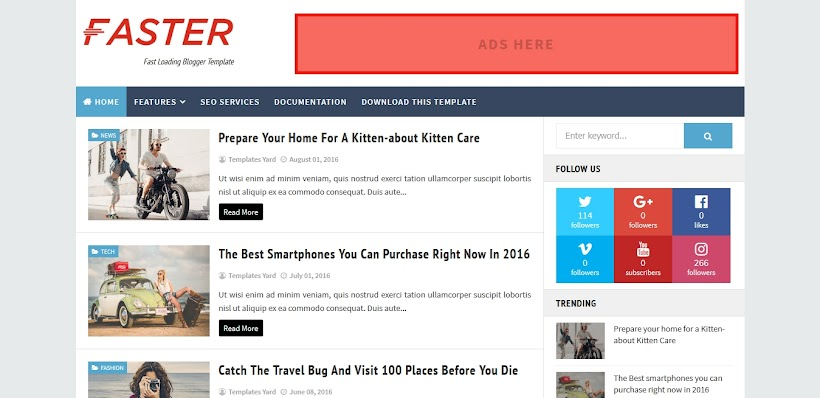Faster Free Blogger Template