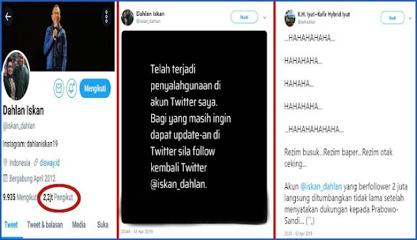 Pasca Deklarasi Dukung Prabowo, Akun Twitter Dahlan Iskan dengan 2 Juta Follower Tumbang