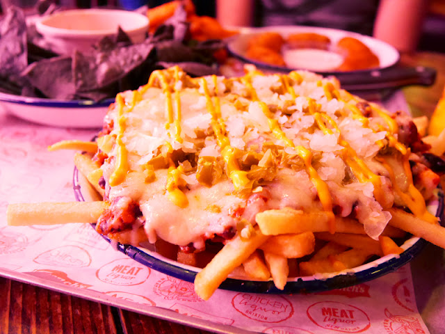 vegetarian, black bean chilli fries at MEATLiquor, Brighton
