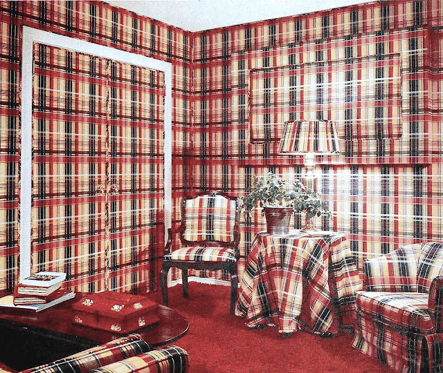 a photograph of a 1972 room decorated in plaid