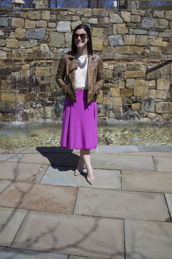 Purple midi skirt, purple skirt, J.Crew skirt, J.Crew purple midi skirt, lace top, Target lace top, faux leather jacket, spring outfit, flowy skirt