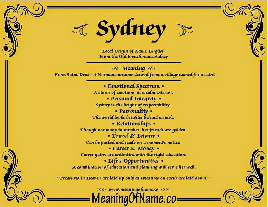 sydney name meaning - photo#2