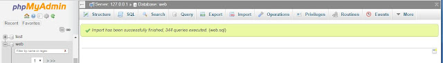 Berhasil upload database mysql