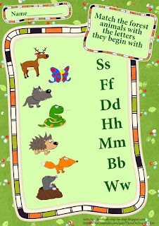 forest animals matching beginning letters esl worksheet