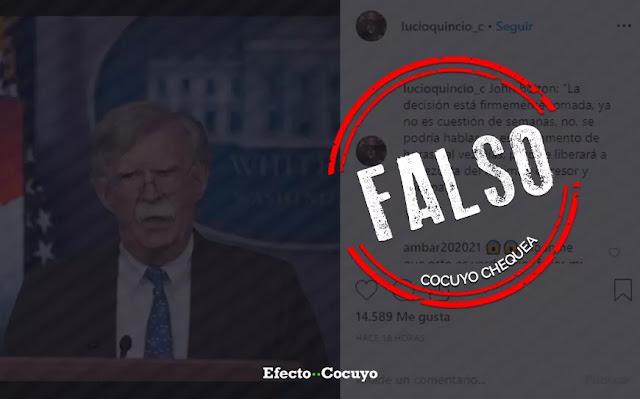 "¿John Bolton dijo que en cuestión de días u horas ""se liberará"" a Venezuela? #CocuyoChequea"