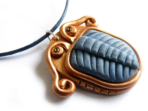 finished polymer clay trilobite necklace pendant