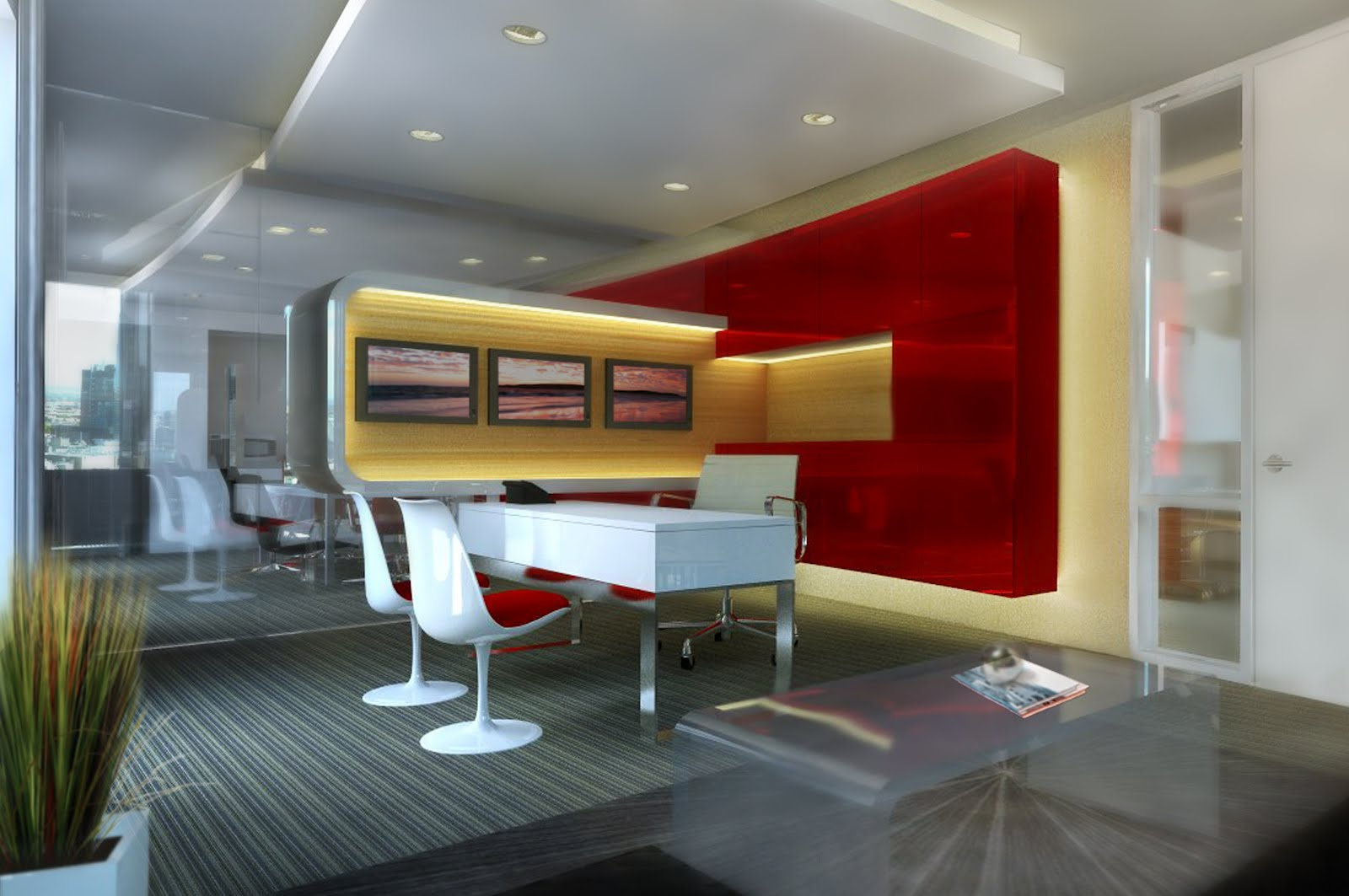Proposed Scheme 1 Of The Executive Office Consists A High Gloss Built In Cabinet That Accentuates Curve Building Cool Corporate Elegance