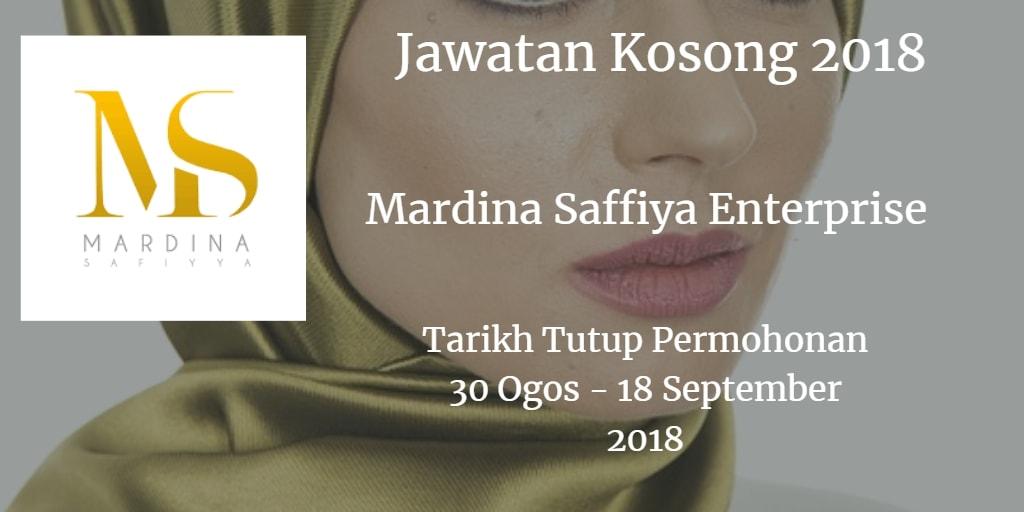 Jawatan Kosong Mardina Saffiya Enterprise 30 Ogos - 18 September 2018