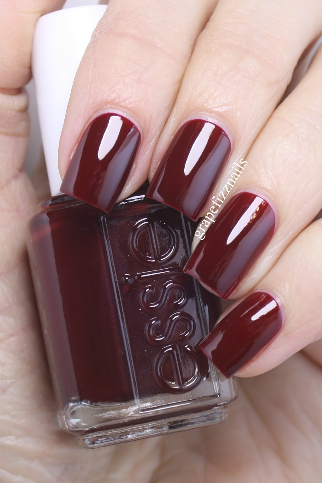 Grape Fizz Nails: Essie Berry Naughty and Sparkle on Top
