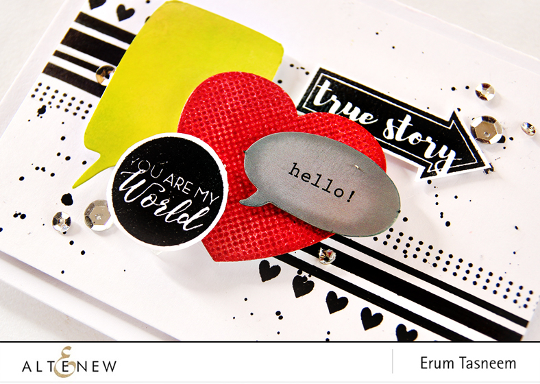 Altenew  Halftone Hearts Nesting Diet Set | Point It out | Circled Sentiments | Basic Borders. Card by Erum Tasneem - @pr0digy0