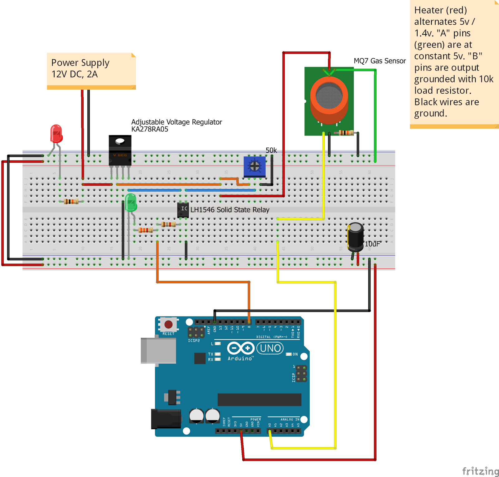 Internet Of Things Co Carbon Monoxide Gas Sensor Using The Solid State Relay Mosfet Below Is Actual Circuit