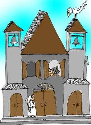 Dibujo de una iglesia con 2 campanas