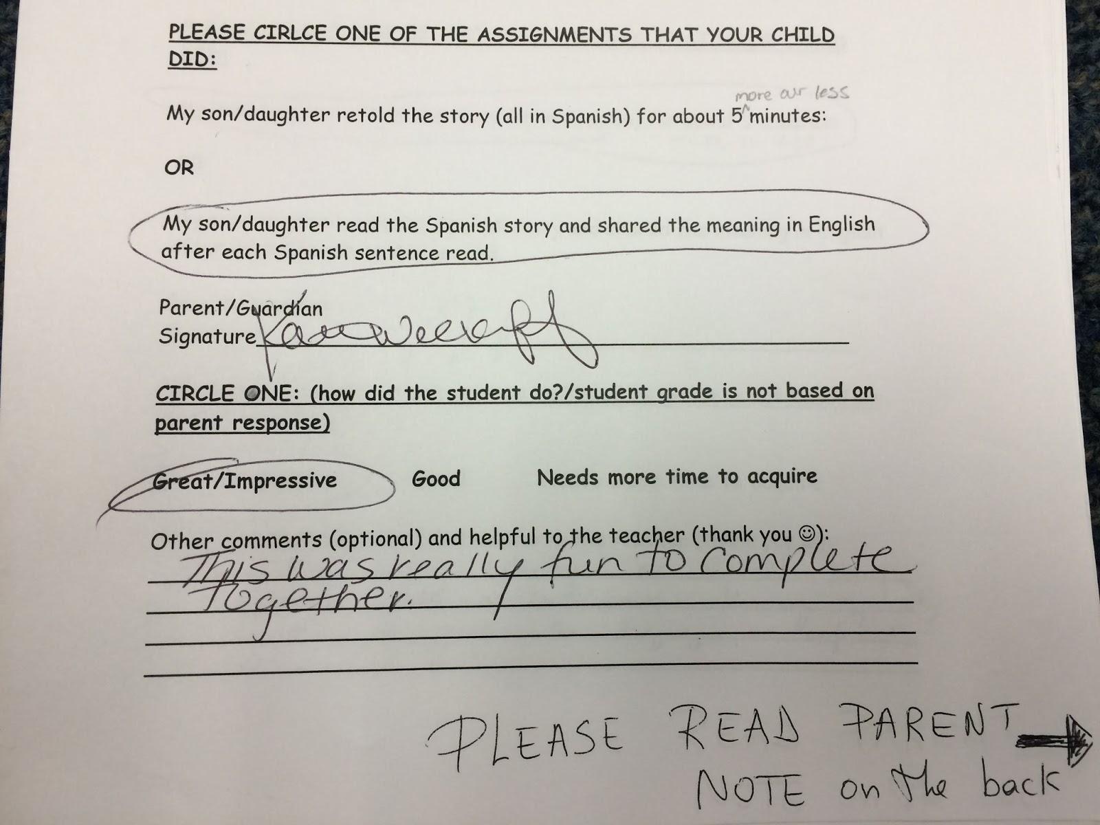 tprs homework ideas