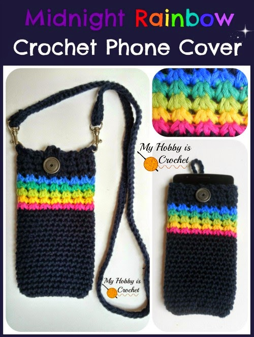 """Midnight Rainbow"" Phone Cover - Free Crochet Pattern + Tutorial"
