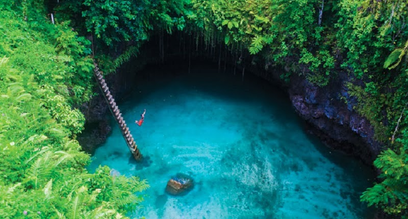 An unusual Location: To Sua Ocean Trench in Samoa With The Incredible Small Beach
