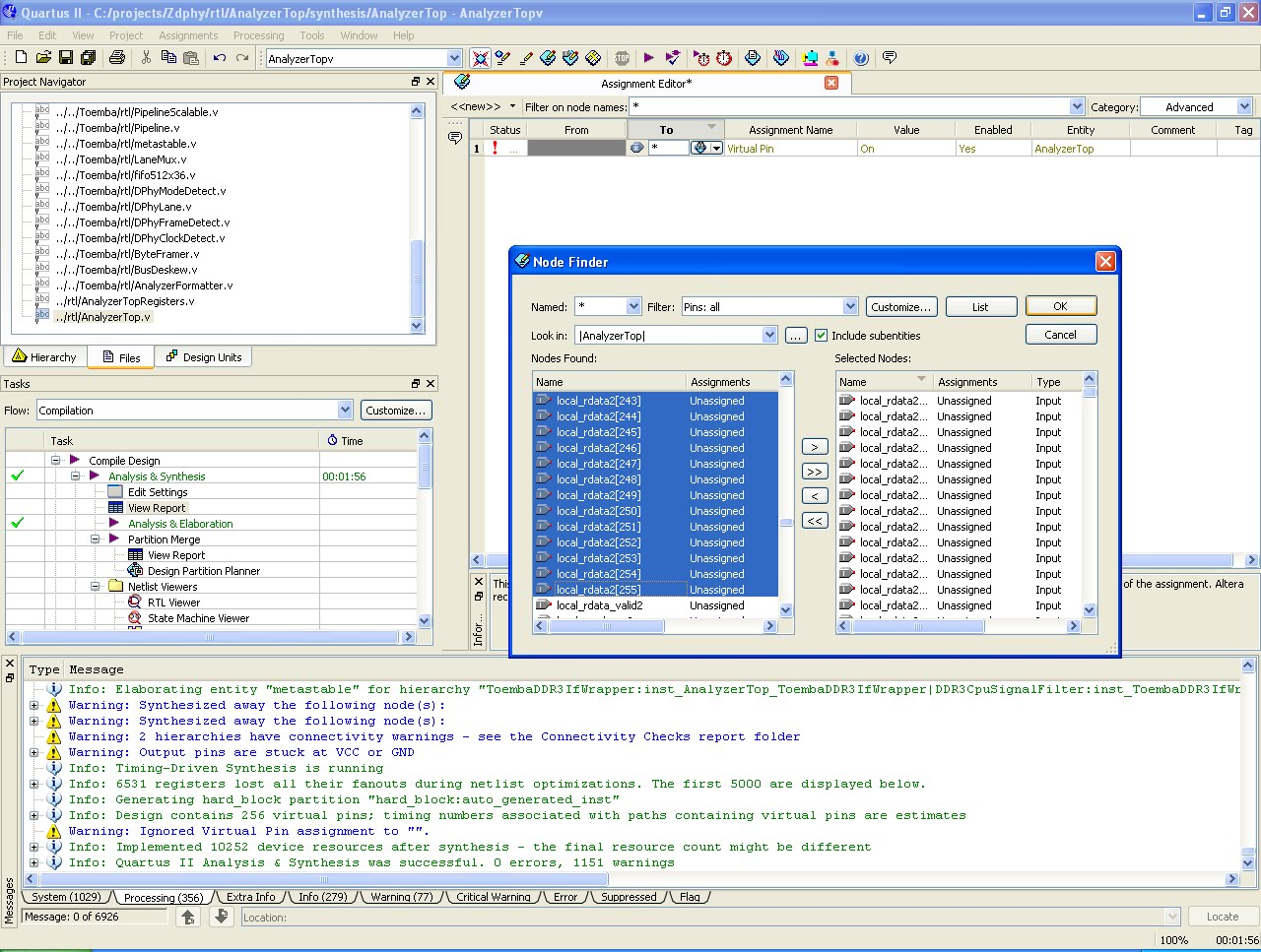 quartus assignment editor