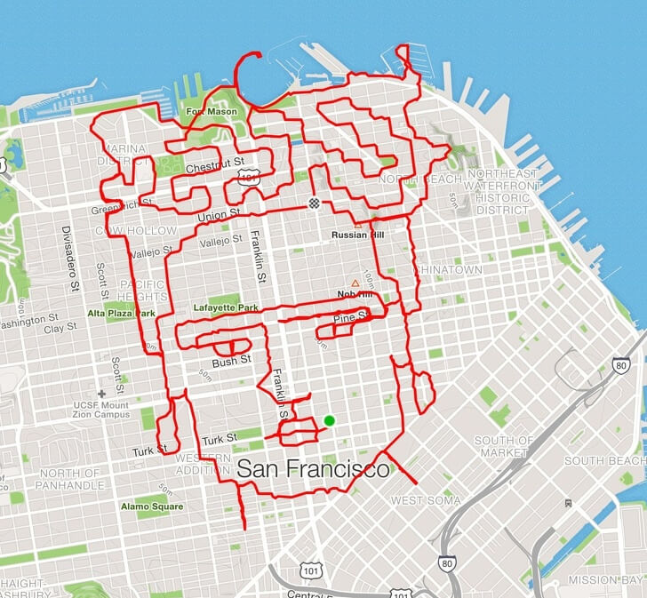 Runner From San Francisco Makes Creative Artworks With His Routes
