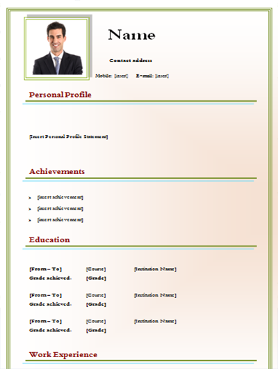 download cv template green style simple for free   picture  2 pages