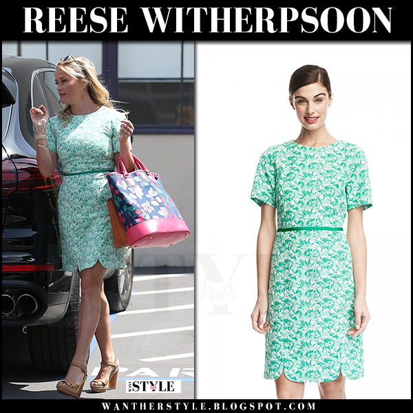 Reese Witherspoon green printed mini dress draper james what she wore july 28 2017 street fashion