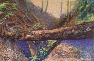 Original soft pastel painting of fallen tree trunk from Coorg by Manju Panchal
