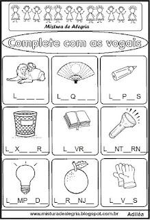 Atividade para completar com as vogais