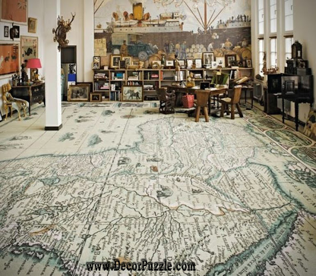 map flooring, unique and creative flooring ideas and flooring options