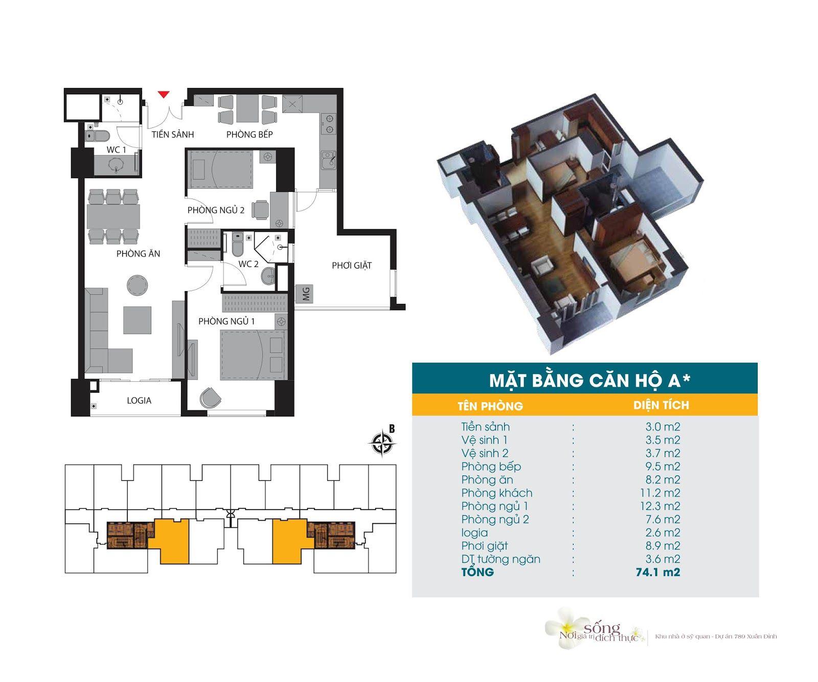 Căn hộ 74,1 m2