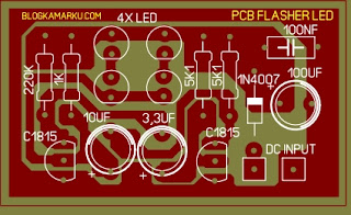 PCB Layout LED Flasher untuk motor atau Hobby